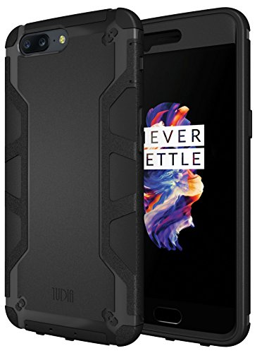 OnePlus 5 Case, TUDIA OMNIX [Heavy Duty] Hybrid [Full-Body] Case with Front Cover and Built-in Screen Protector/Impact Resistant Bumpers for OnePlus 5 (Not Compatible with OnePlus 5T) (Matte Black)