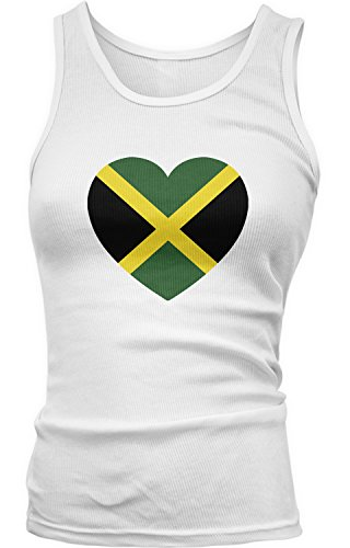 Amdesco Junior's Jamaica Heart Flag, Heart Jamaican Flag Tank Top, White Medium Jamaican Flag Heart