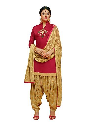 ladyline Ready to Wear Kora Silk Handwork Salwar Kameez Suit with Patiala Salwar with Jacquard Dupatta (Size_38/ Fuchsia)
