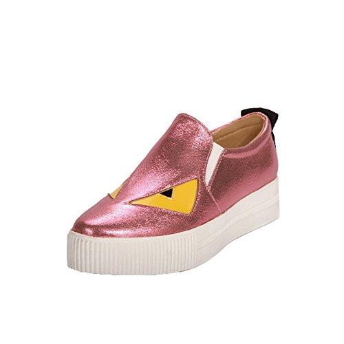 AgooLar Damen Cartoon Pattern Blend-Materialien Niedriger Absatz Pumps Schuhe Pink