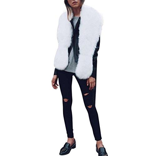 Fullfun Winter Faux Fur Long Warm Scarf,Women Shawl Wraps (61.4 x 7.8 inches, white)