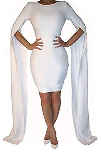 Women's Girls Sexy Floor Length Split Long Sleeve Bandage Party Club Midi Dress (S, white) (Floor Sexy)