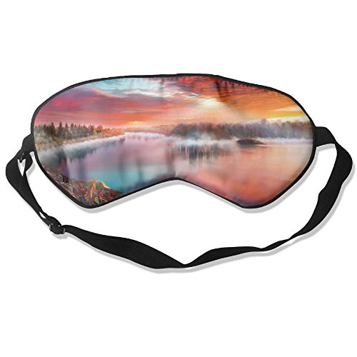 Silk Sleeping Mask Eye Artistic River Lightweight Soft Adjustable Strap Blindfold For Night's Sleep Nap Travel Eyeshade Men And Women -