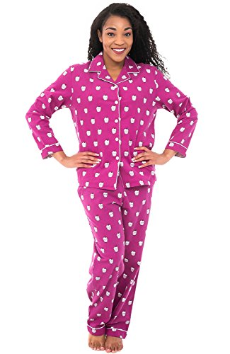 Alexander Del Rossa Womens Flannel Pajamas, Long Cotton PJ Set, Large Sweet Cupcakes On Purple Violet (A0509Q94LG) - Cupcake Pajama Set