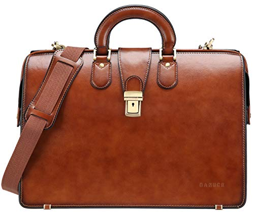 Banuce Brown Vintage Genuine Leather Doctor Bag for Men Business Briefcase Medical Handbags Lawyer Attache Case with Lock 15.6 Inch Laptop Attorney Bag