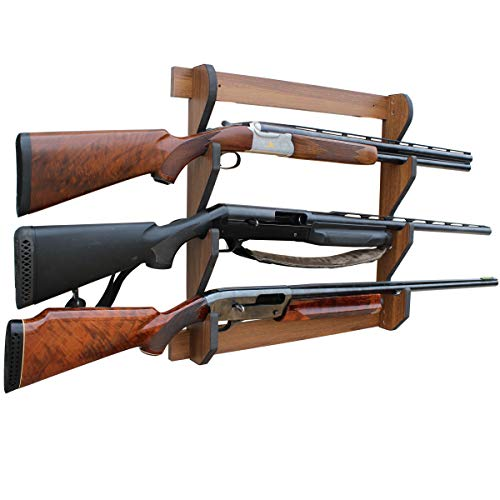 Rush Creek Creations Indoor 3 Rifle/Shotgun Wall Storage Display Rack Dark Walnut Finish - Convenient Easy Assembly
