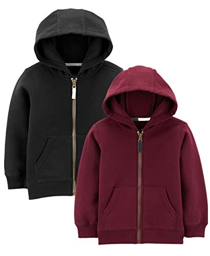 (Carter's Baby Boys' Toddler 2-Pack Full Zip Hoodie (2T, Fleece Lined Maroon/Black))