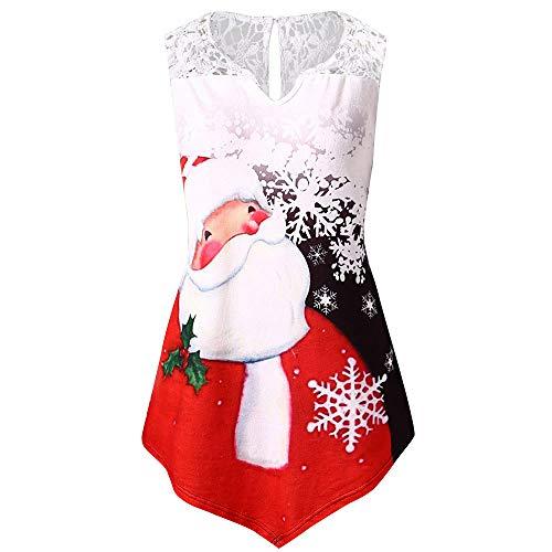 NREALY Womens Xmas Plus Size Christmas Santa Claus Print Lace Tunic Tee Shirt Long Sleeve Top(L, Black)