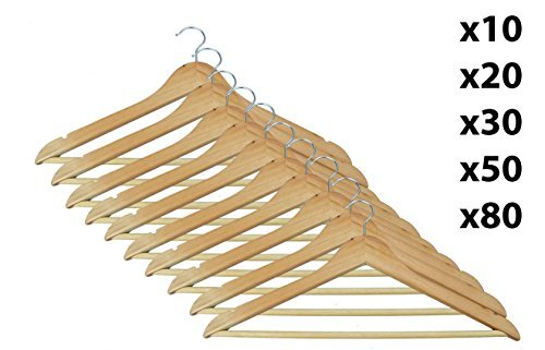Strong Natural Wood Wooden Coat Hangers with Round Trouser Bar and Shoulder Notches by E Bargains UK