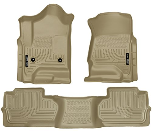Husky Liners Front & 2nd Seat Floor Liners Fits 14-18 Silverado 1500, 15-19 Silverado 2500/3500, 19 Silverado 1500 LD, 19 Sierra 1500 Limted, Double Cab