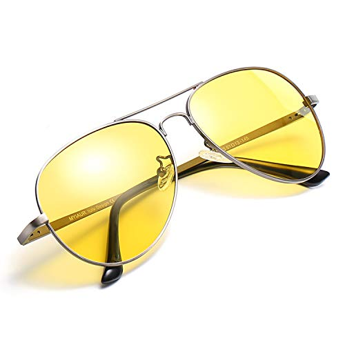 Myiaur Night Driving Glasses, HD Vision Yellow Glasses, for Fashion Men & Women - Polarized Lens Anti Glare (gun frame yellow night driving ()