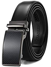 Chaoren Ratchet Dress Belt, Mens Adjustable Leather Belt with Slide Automatic Click Buckle, Trim to Exact Fit