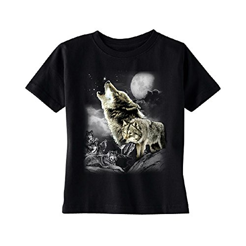 Wolves Wildness Howling Full Moon Toddler T-Shirt Wolf The Mountain Kids Black 3T by Zexpa Apparel