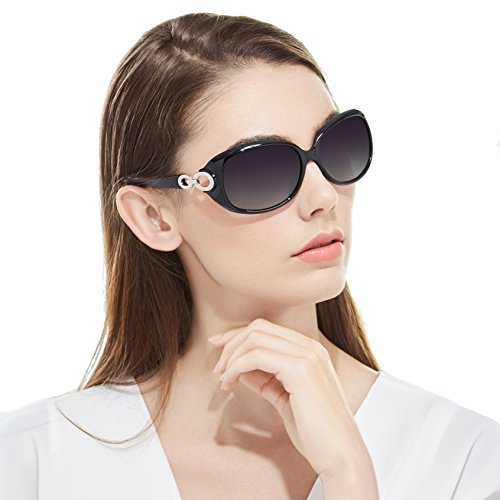 Myiaur Oversized Stylish Fashion Polarized Sunglasses for Women Driving 100% UV Protection … (black)
