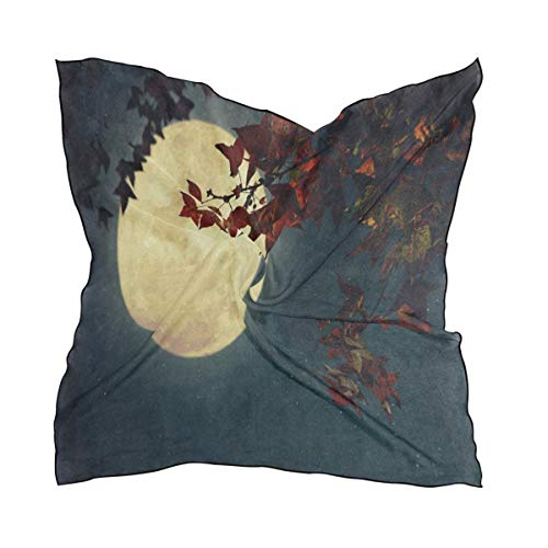 Scarf Full Moon Starry Night Sky Atumn Fall Maple Tree Womens Square Silk Scarves Shawl Wrap for Lady - 4 Maple Square Inch