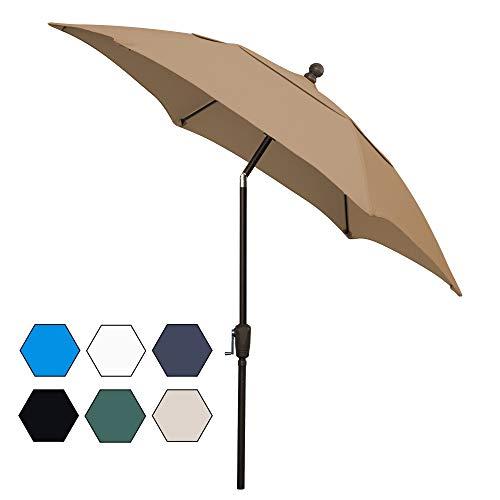 FiberBuilt Umbrellas AZ7HCRCB-T-Beige Patio Umbrella, Beige