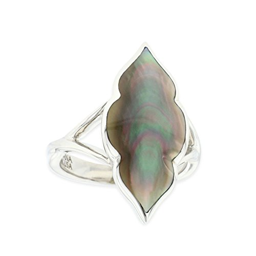 Kabana Sterling Silver Black Mother of Pearl Marquise Shaped Ring Size 7