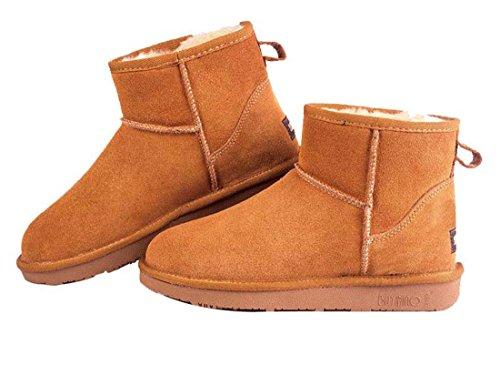 HooH Women's Nubuck Slip On Snow Boots 5854 Brown 5LQ3n