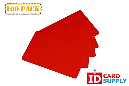 Pack of 100 Red CR80 Standard Size PVC Cards | 30 mil Thickness by easyIDea