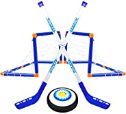 2 in 1 Hover Hockey Soccer Ball Set Boys Toys,Rechargeable Indoor & Outdoor Hovering Hockey Game with 1 Go