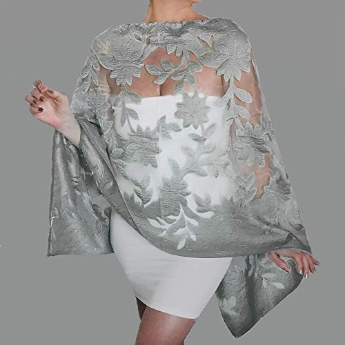 Amazon.com: Plus Size Grey Wedding Stole Silver Mother Of ...