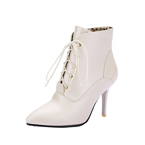 MissSaSa Damen modern high-heel Pointed Toe Ankle-Pumps mit Schnürsenkel und Stiletto Hellgold