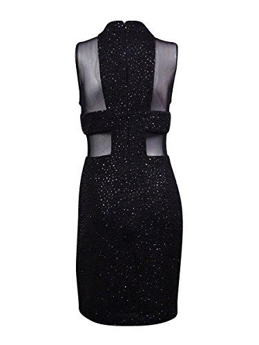 Betsy & Adam Sequin Féminin Robe Fourreau Taille Illusion Embelli Noir