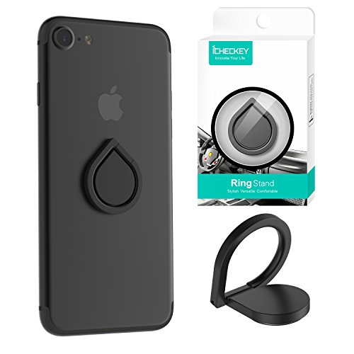 ICHECKEY Smart Phone Ring Holder 360 Adjustable Ring Stand Grip Mount Kickstand for iPhone 7/7 Plus, Galaxy S8/S8 Plus and Almost All Cases/Phones (Black)