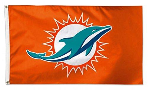 (Stockdale Miami Dolphins WC ORANGE w/Logo Premium 3x5 Flag Outdoor House Banner Football)