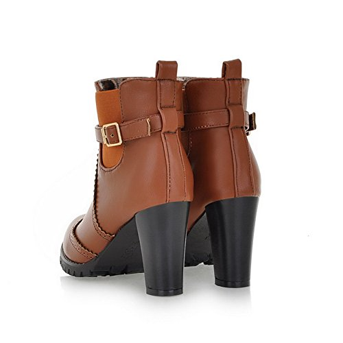 Closed Short 5 PU Toe US M Solid AmoonyFashion B Boots Heels and Chunky Womens Brown Round Platform 7 Heels with High Plush F55xqC0