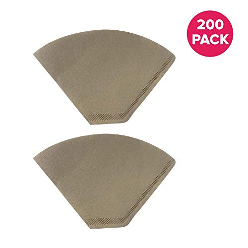 Think Crucial Replacement #4 Coffee Filters for Unbleached Natural Brown Paper, Disposable Cone Filters, Fits All Coffee Makers With #4 Filters including Melitta, Bulk (200 Pack)