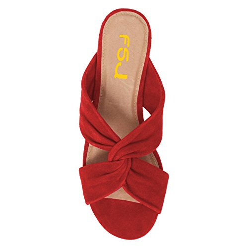 Slip Toe Comfortable Low Cutout US Women Shoes Heels On Size Red 15 Open Flats Mules 4 Sandals FSJ Casual Sq1x8fAxw