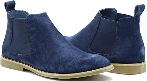Enzo Romeo CO01 Men's Chelsea Boots Dress Fashion Slip On Suede Leather Ankle Boots (11 D(M) US, Navy Blue)