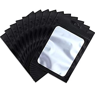 100 Pieces Resealable Mylar Ziplock Food Storage Bags with Clear Window Coffee Beans Packaging Pouch for Food Self Sealing Storage Supplies (Black, 3 x 4.7 Inch)