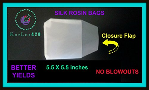 Rosin Press Bags 90 Micron 5.5 X 5.5 pkg of 25 Bags Silk Reusable by KorLor420