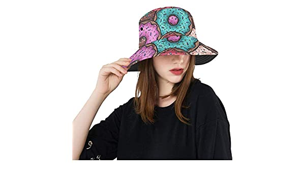 Sweet Yummy Chocolate Dessert Sugar Donut New Summer Unisex Cotton Fashion Fishing Sun Bucket Hats for Kid Teens Women and Men with Customize Top Packable Fisherman Cap for Outdoor Travel