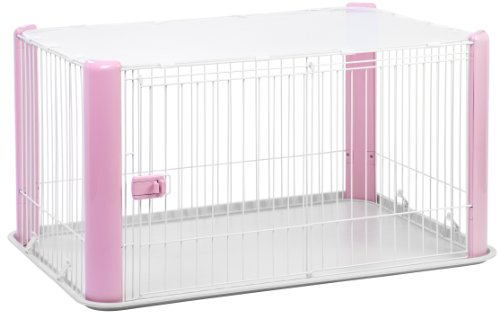 IRIS Large Wire Dog Crate with Mesh Roof, Pink