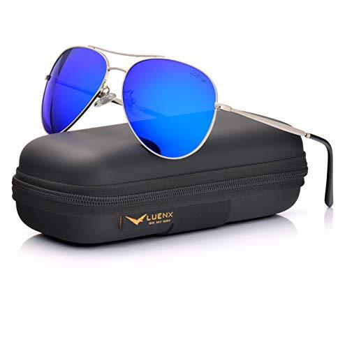 LUENX Aviator Sunglasses Men Women Mirror Polarized UV400 Metal Frame 60MM (6-Dark Blue, ()