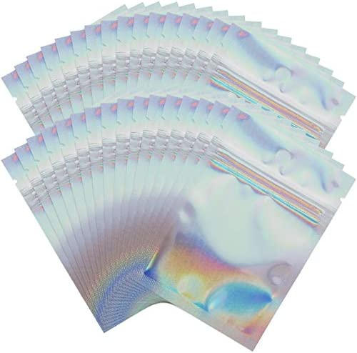 200 Pack Mylar Holographic Resealable Bags, 2.8 x 3.9 inch, Smell Proof Bags, Sealable Heat Seal Bags for Candy and Party Favor Food Storage, Foil Pouch Ziplock Bags for Medications and Vitamins