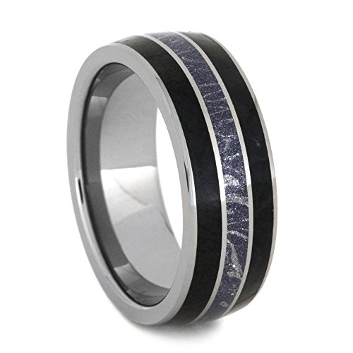 Black Jade, Blue, Bronze and White Mokume, Titanium Pinstripe 8mm Comfort-Fit Tungsten Band, Size 10.5 by The Men's Jewelry Store (Unisex Jewelry)