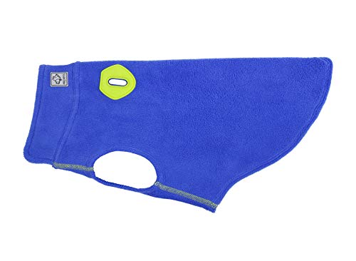 RC Pet Products 66012008 Baseline Dog Fleece Dog Coat, Electric Blue/Lime, 12