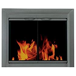 Pleasant Hearth CB-3300 Colby Fireplace Glass Door, Sunlight Nickel (Renewed) by GHP Group -- Drop Ship Only