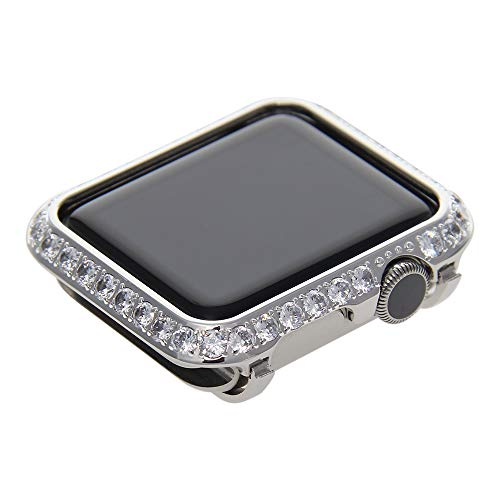 Callancity 3.0mm Bling Rhinestone Diamond Case Crystal Bezel face Cover Compatible Apple Watch Series 3 Series 2 Series 1 (Platinum, 38mm Non -