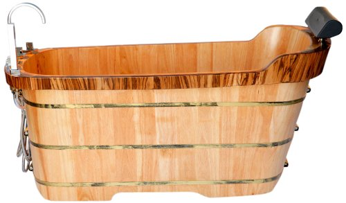 -Inch  Free Standing Oak Wood Bath Tub with Chrome Tub Filler ()
