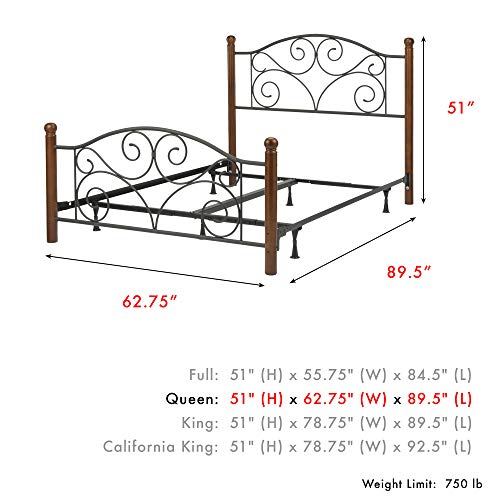 Leggett and Platt Home Textiles Doral Complete Bed with Metal Duo Panels and Dark Walnut Wood Posts, Queen, Matte Black Finish