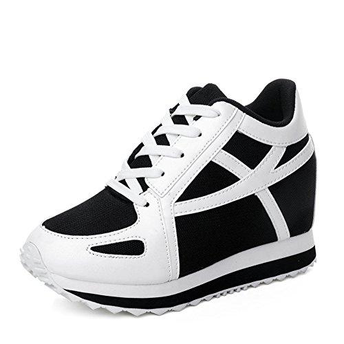 Ciabatta Da Donna Casual Zeppa Scarpe Da Corsa Altezza Aumentata Piattaforma Camminando Sneaker Bianco