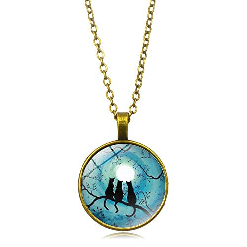 Water Hep Glow Necklace Galaxy Blue Moon Glowing Cat Necklace Art Photo Glass Dome Cabochon Pendant Silver Chain Necklace Glow in The Dark Jewelry YG0019 Blue Moon Art Glass Pendant
