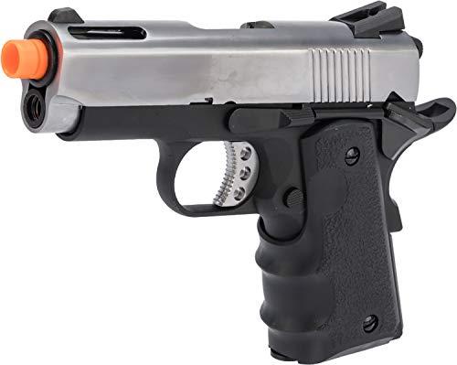 - Evike AW Custom NE10 Series 1911 Compact Sized Airsoft GBB Pistol (Color: Silver Slide/Black Frame)