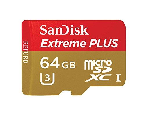 SanDisk Extreme PLUS 64GB microSDXC UHS-I/U3 Memory Card (SDSQXSG-064G-GN6MA) (Certified Refurbished)