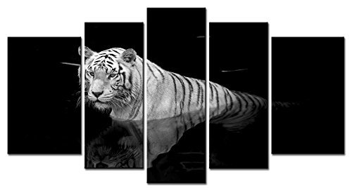 EZON-CH Modern Art Animal Series 5 piece Paintings White Tiger Swimming in the Black Mirror Pool Picture Home Decor Wall Art For Home Stretched and Framed